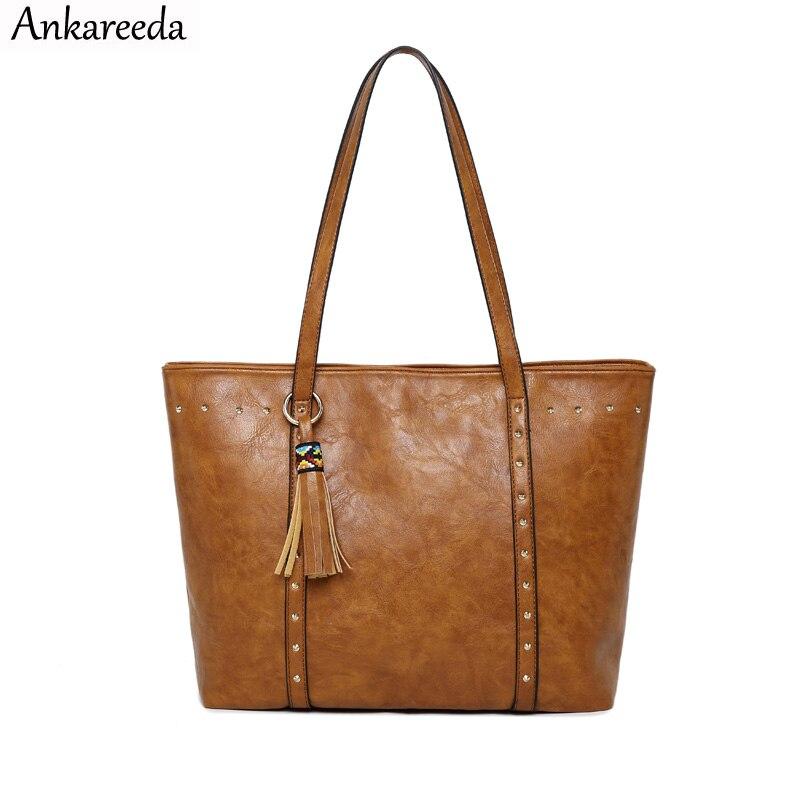 Ankareeda Vintage PU Quaste Frauen Schulter Tasche Weibliche Mode Täglichen Kausalen Totes Dame Elegante Einkaufs Handtasche Große-kapazität