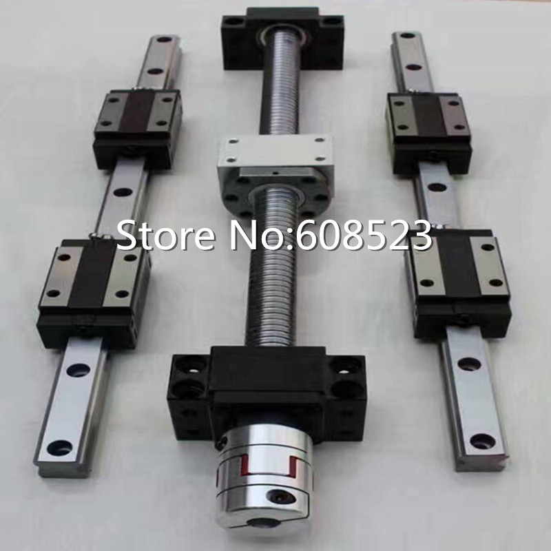 6 sets linear guideway Rail HB20+ 3 ballscrews balls screws 1605-350/850/1250mm + BK12 BF12 +3 couplings toothed belt drive motorized stepper motor precision guide rail manufacturer guideway
