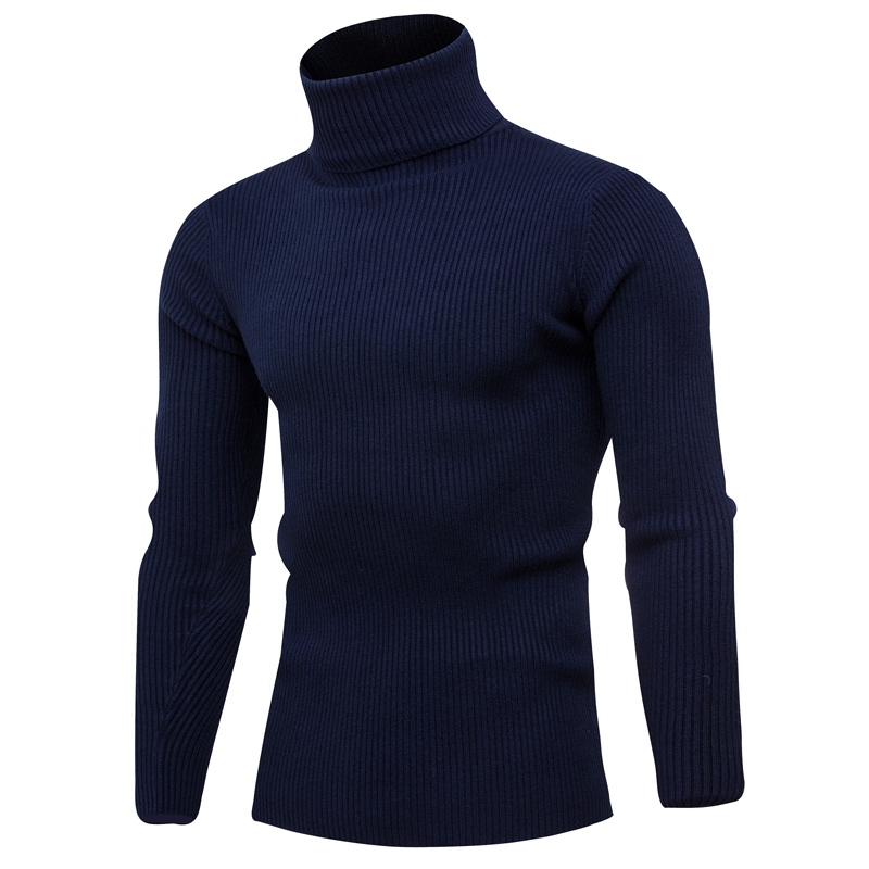 2019 Autumn And Winter New Men's Casual High Neck Knit Sweater / Men's Solid Color Long Sleeve Turtleneck Pullover Sweater
