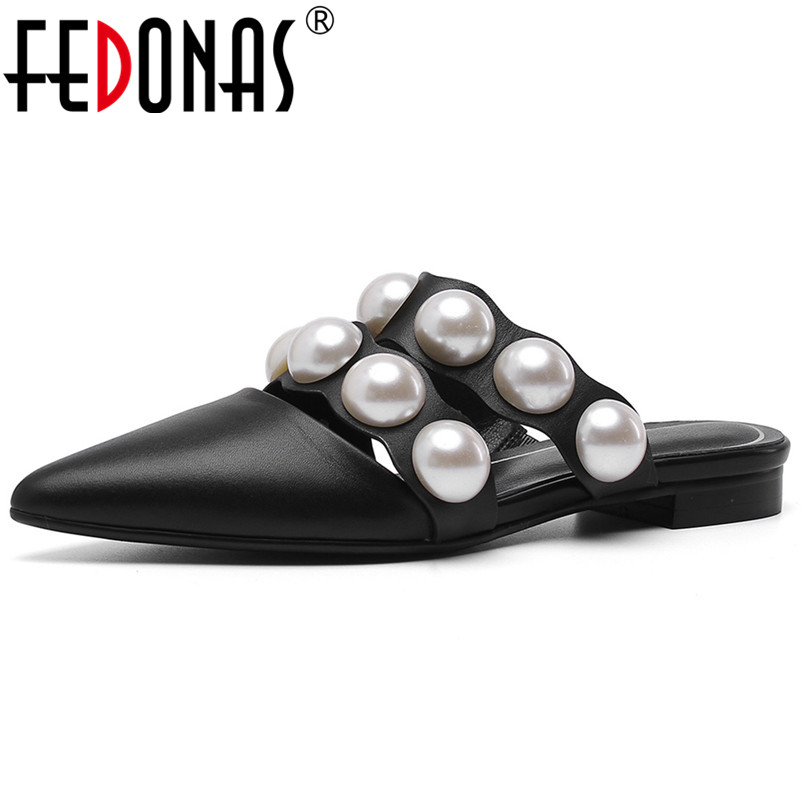FEDONAS New Fashion Pearl Decoration Shallow Women Pumps Classic Design Square Heeled Genuine Leather Summer Casual Shoes WomanFEDONAS New Fashion Pearl Decoration Shallow Women Pumps Classic Design Square Heeled Genuine Leather Summer Casual Shoes Woman