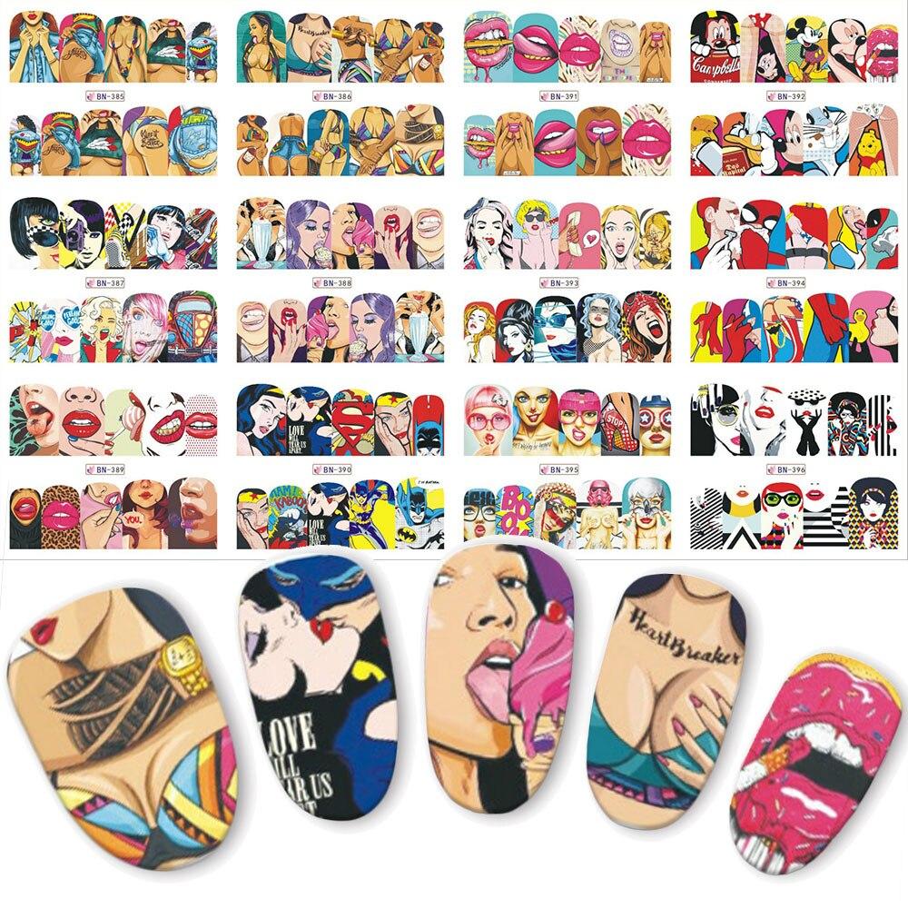 купить 12pcs Pop Art Nail Sticker Water Transfer Nails Art Decals  Beauty Decor Slider Cool Girl Lips Manicure BN385-396 по цене 67.91 рублей