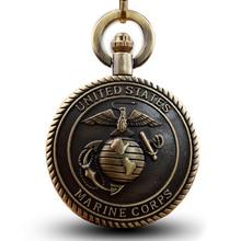0c201b8512a Bronze do vintage estados unidos marine corps quartzo relógio de bolso colar  pingentes relógio para mulheres homens presentes