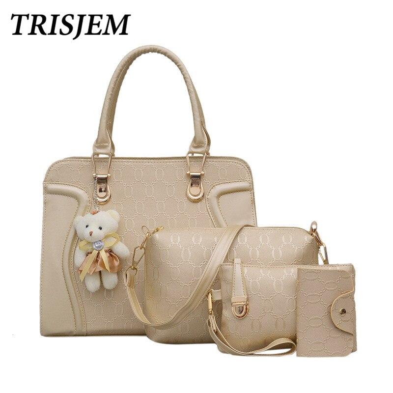 4pcs Leather Bags Handbags With Bear Women Famous Brand Shoulder Bag Female Casual Tote Women Messenger Bag Set Bolsas Feminina