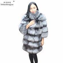 Linhaoshengyue 2016 long 80cm Real fur silvery Fox women coat