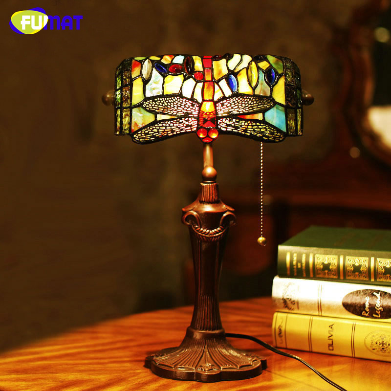 FUMAT Stained Glass Table Lamp European Style Dragonfly Glass Art Tiffany  Lamp Living Room Hotel Bedside