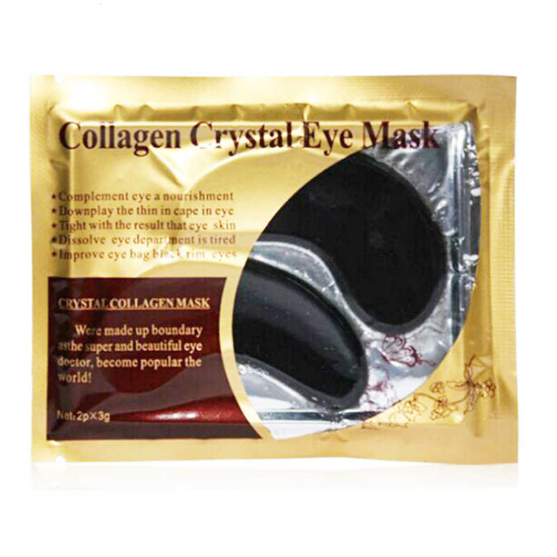 2 adet/1 Çift Siyah Kristal Kollajen Göz Maskesi Uyku Göz Yamalar Koyu Halkalar Kaldırmak Yaşlanmayan Nemlendirici jel maske için gözler Yaşlanmayan