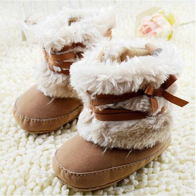 Bambino Bambini Bowknot Stivali Toddler Fleece Stivali di Pelliccia della Neve Del Bambino Presepe Shoes