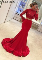 Red Long Sleeves Two 2 Pieces Prom Dresses 2019 Lace High Neck Mermaid Formal Women Evening Dress Sweep Train Long Party Gowns