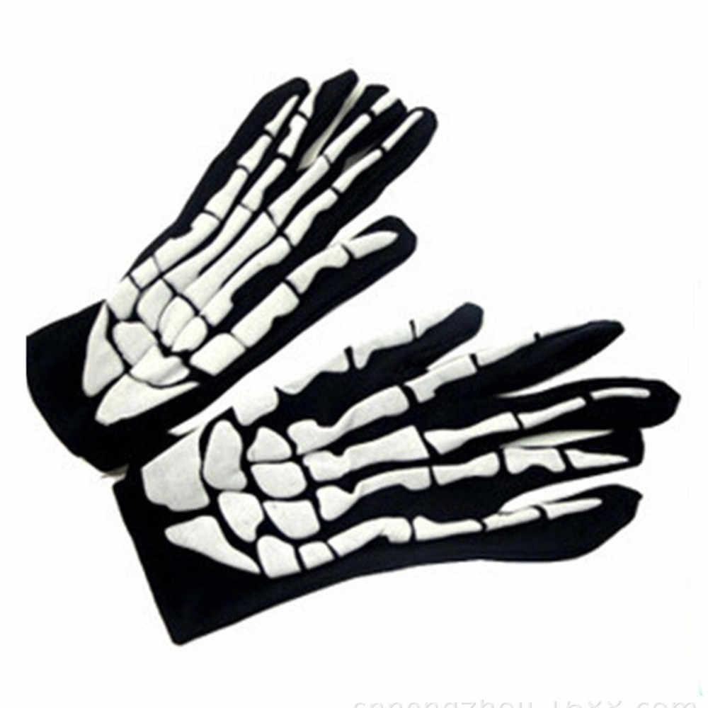 1/2 çift cadılar bayramı korku kafatası pençe kemik İskeleti Goth yarış tam eldiven yumuşak astar malzemesi delikleri ter esneklik eldiven