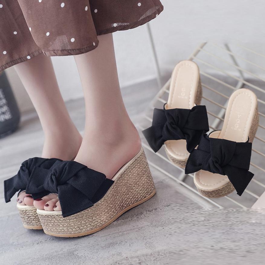 green De 2018 Las Alta Cuña Mujeres Femme Black Chaussures Tacón Del Súper Arco pink Verano Zapatillas Mujer Alto a4x4q