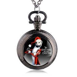 Новое поступление Античный Черный Кошмар перед Рождество тема карманные часы Винтаж стимпанк кулон fob Цепочки и ожерелья подарок
