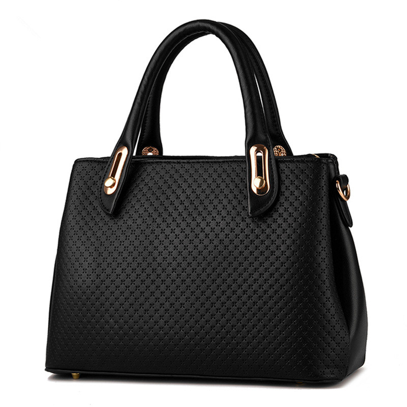 Casual Fashion Black PU Women's Handbag Office Lady Business Handbag Clutch Women Shoulder Bag elegant pu office lady business handbag casual clutch fashion women shoulder bag zipper pink