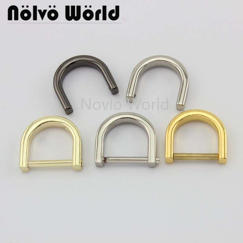 Wholesale 500pcs,4 Colors Accept Mix Color, 19*17mm, Detachable D Ring Loop Buckle Screw Metal Buckles Clasp Handbag Strap Hook