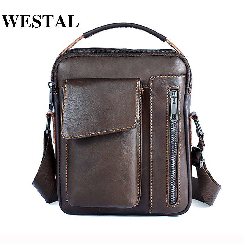 WESTAL Messenger Bag Men's Genuine Leather Shoulder bag Male Casual Oil Leather Small Flap man Crossbody Bags for Men Handbags westal casual messenger bag leather men shoulder crossbody bags for man genuine leather men bag small flap male bags bolsa new