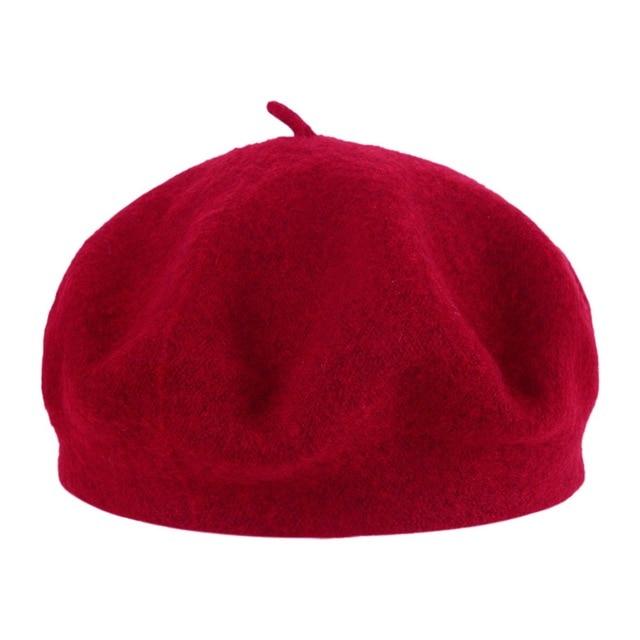 Wool Solid Color Beret Hat...