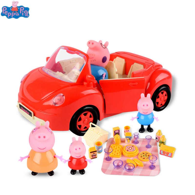 Genuína Música House Set Toy Anime Peppa Pig Luxo Personalizado Imagem Villa Conjunto de Piquenique Sports Car Presentes das Crianças