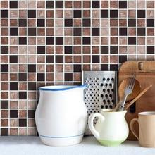 Съемный Ретро кофейный цвет 3D плитка мраморная мозаика наклейки на стену самоклеящиеся водонепроницаемые ПВХ для кухни ванной комнаты домашний декор