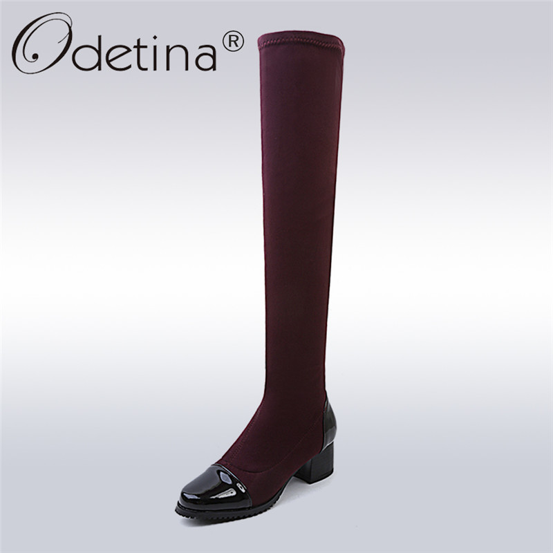 Odetina New Fashion Square Toe Over The Knee Boots For Women Chunky Heels Zip Slip On Thigh High Boots Autumn Winter Big Size 43 memunia over the knee boots for women autumn winter zip high heels shoes fashion womens boots pointed toe big size 34 43