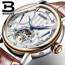 2017 NEW men's watch luxury brand BINGER business sapphire Water Resistant leather strap Mechanical Wristwatches B-1172-1