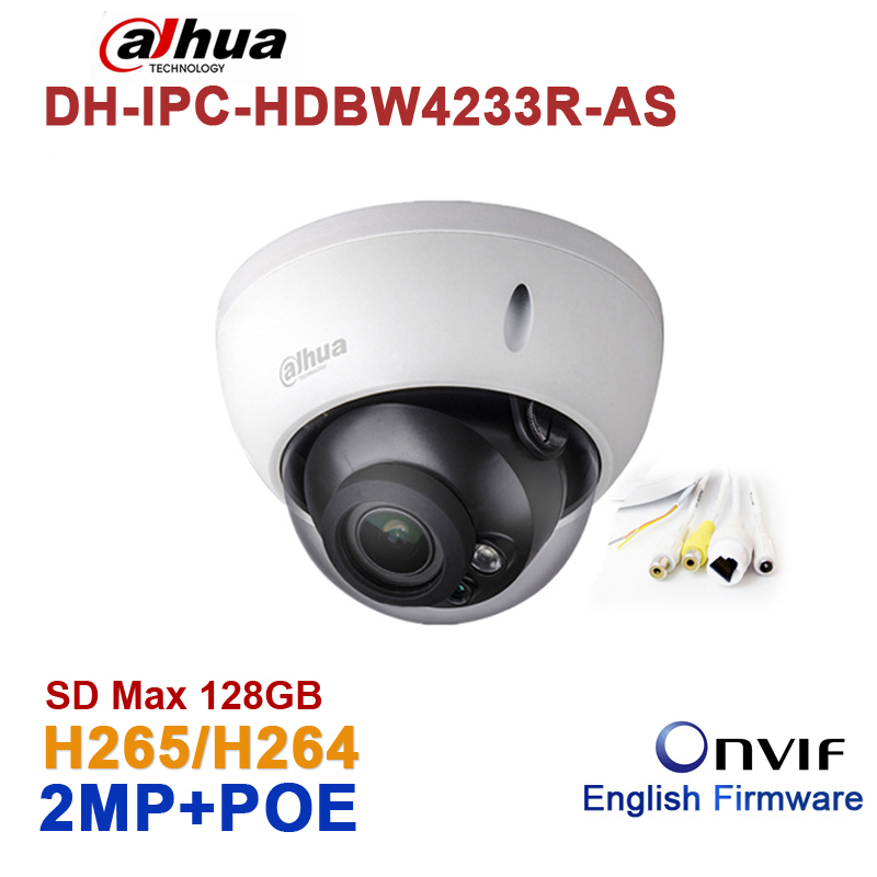 Wholesale Dahua DH-IPC-HDBW4233R-AS 2MP IR Mini Dome Network IP Camera IR POE Audio SD card Stellar H265/H264 IPC-HDBW4233R-AS casual men s round collar solid color short sleeves t shirts