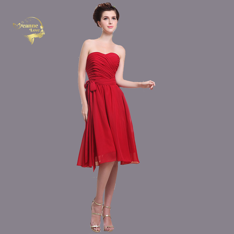 Red Chiffon   Bridesmaid     Dresses   A Line Knee Length Simple Maid of Honor   Dresses   vestido coctel vestidos de fiesta de noche corto