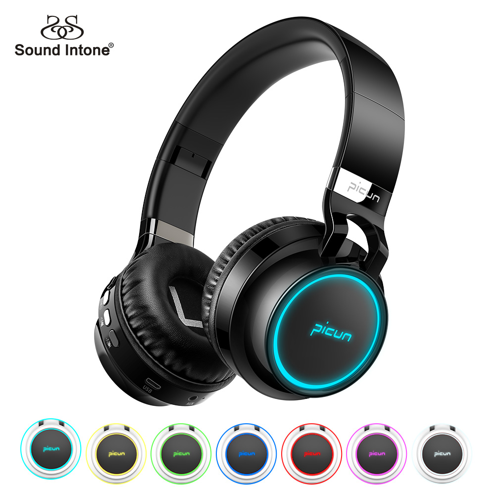Sound Intone P60 Bluetooth Headphones Wireless Support 7 Colors Glowing 24 Hours Working Time MP3 Player