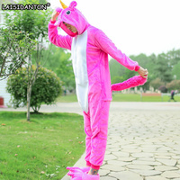 LAISIDANTON Women Pink Unicorn Pajama Overall Unisex Flannel Adults Cosplay Pajamas Animal Onesies Sleepwear Hoodie For