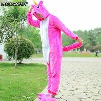 LAISIDANTON Women Pink Unicorn Pajama Overall Unisex Flannel Adults Cosplay Pajamas Animal Onesies Sleepwear Hoodie For