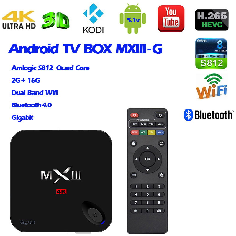 Android 5.1 TV Box  MXIII-G  Amlogic S812 Quad Core 2G 16GB Memory Smart Tv Box Pre-installed Kodi Xbmc Fully Loaded