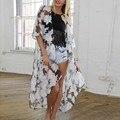 Blusas de verano 2016 Blusas de Las Mujeres Floral Media Manga Escarpada Blusa Larga Floja de la Rebeca Camisa Protector Solar Ropa de Playa Más Tamaño 6XL