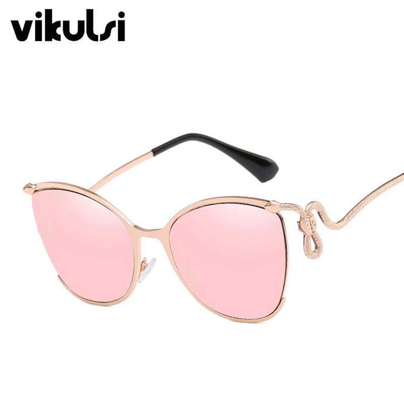 De luxe Italie Rose Miroir lunettes de Soleil Femmes UV400 Rétro Marque Designer Serpentine Métal Cadre Lunettes de Soleil Pour Femme Oculos Nuances