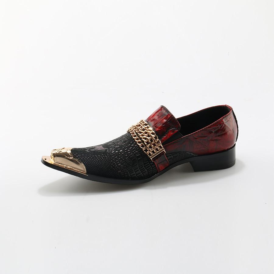 Con Banquete Rojo Oro Zapatos Mocasines Cuero Alligator Hombres Hebilla Handmade Negro De Toe Cadena Metal Vestido wqFYxWpCO