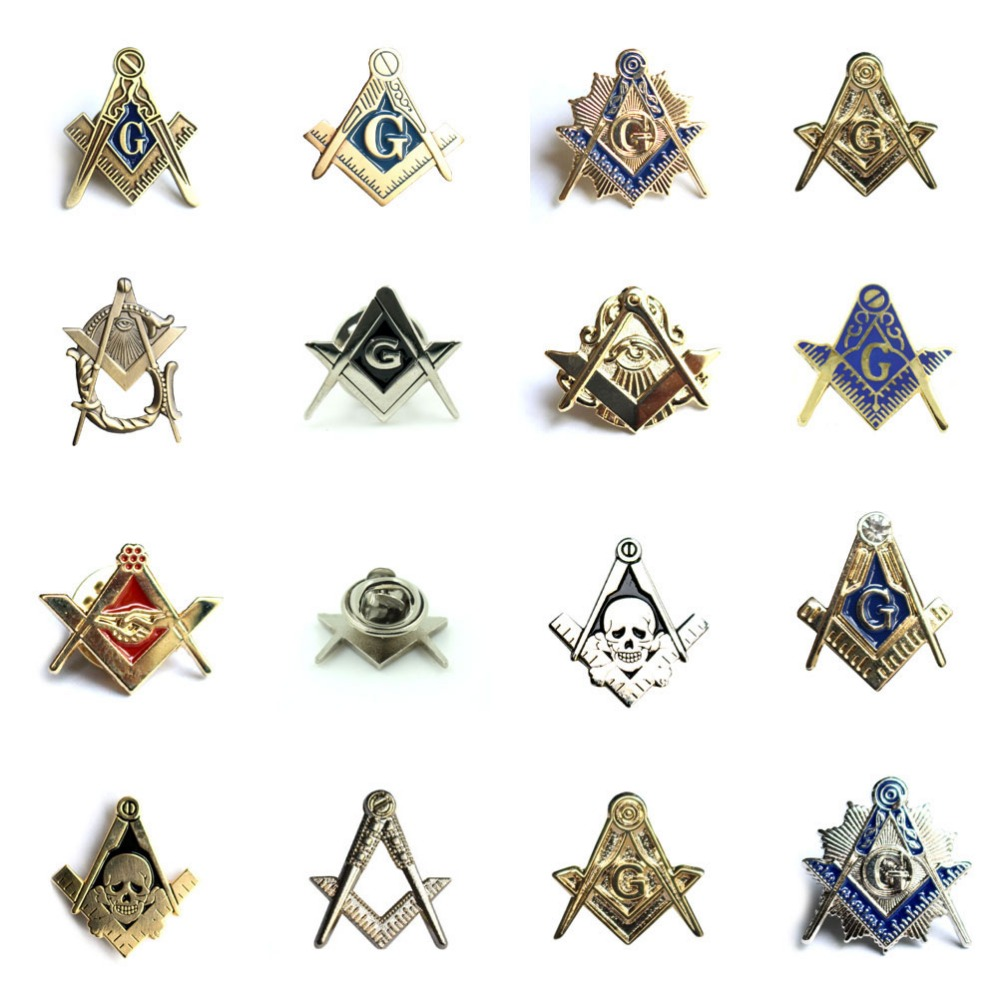 Masonic Freemasonry Square and Compass All Seeing Eye Lapel Pin Badge with Skull & Bones Symbol Gift for Freemason