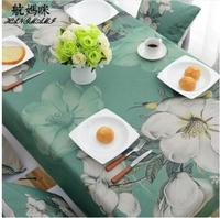 pastoral green table cloth flower printing rectanglur tablecloth TV cabinet table cover cotton linen cloth for table