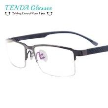 Мужские классические металлические оправы для очков с полуоправой, прямоугольные очки для Rx, для близорукости, чтения, Мультифокальные линзы