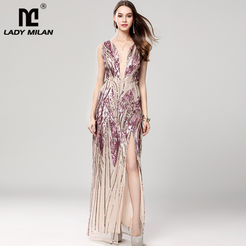 Lady Milan Womens Sexy Low V Neck Sleeveless Sequined Faded Color Split Long Prom Dresses Floor Length Party Gown