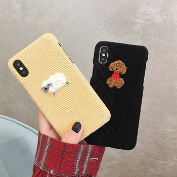 Cute Dog Sheep Embroidery iPhone Cover - Warm Corduroy Hard Cases 1