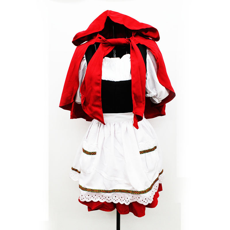 new plus size high quality Little Red Riding Hood Costume Party princess Cosplay Dress lovely Maid Costume Halloween for Women