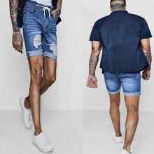Fashion Men's Denim Short Jeans Summer Pants Casual Hole Zipper Fly Mid Waist Shorts Denims High Street Wear Summer New цена