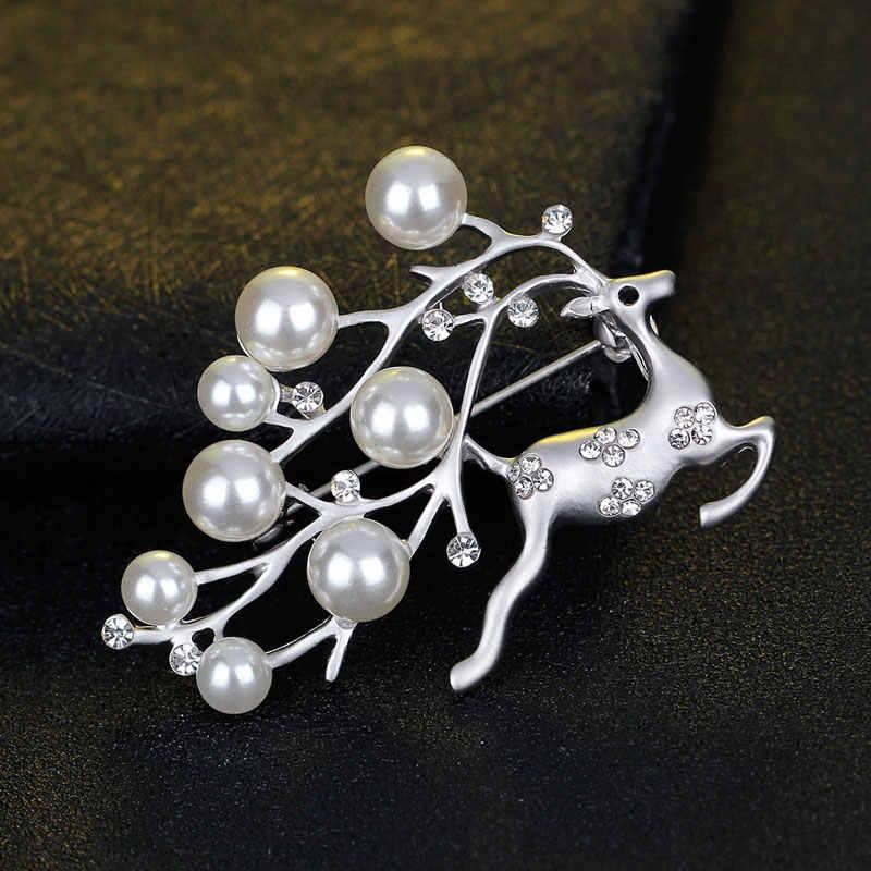 Chukui Lucu Rusa Hewan Bros Wanita Vintage Kristal Disimulasikan Mutiara Rusa Bros Pin Perhiasan Bersinar Natal Hadiah