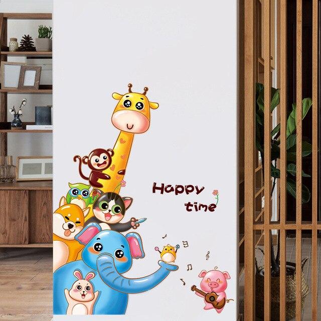 Us 4 71 41 Off Aliexpress Com Buy Happy Time Animal Giraffe Elephant Monkey Cat Wall Stickers Home Decor Kids Room Living Room Bedroom