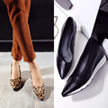 Girls casual leopard high heels women low wedges heel shoes ladies fashion pointed toe black high quality pumps footwear A545-1