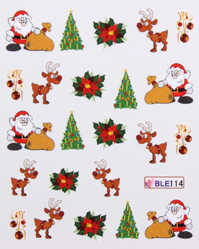 Xmas Nail Transfers: 22 Designs Merry Christmas Nail Art Water Decals Transfers