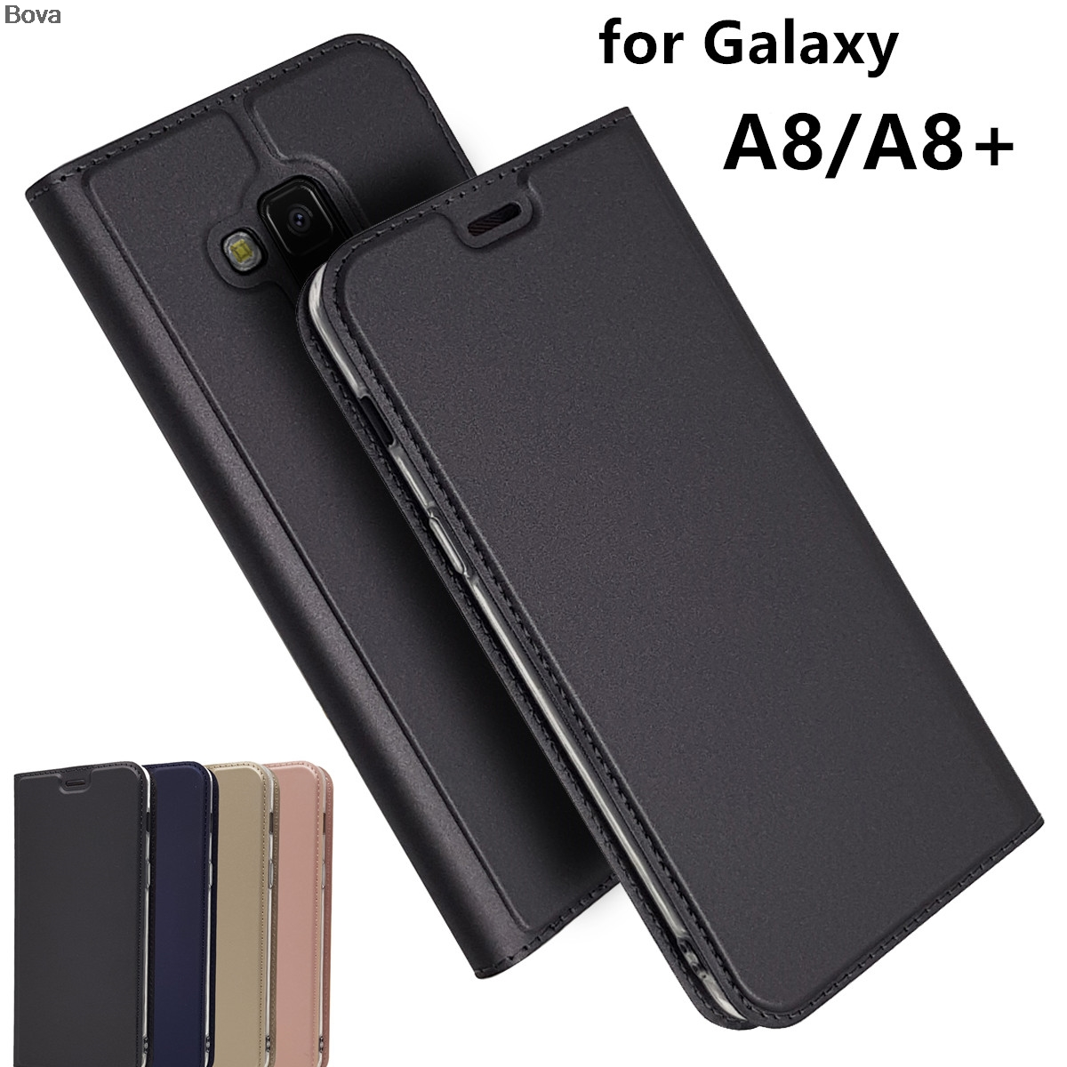 Wallet style Magnetic Adsorption Case Pu Leather for <font><b>Samsung</b></font> Galaxy A8 2018 <font><b>A530F</b></font> / A8 Plus+2018 A730F Matte Flip <font><b>Cover</b></font> Case image