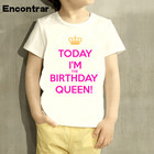 Baby Boys/Girl Keep Calm Coz I'm Brithday Queen/Prince Design T Shirt Kids Funny Short Sleeve Tops Children Cute T-Shirt,HKP5150