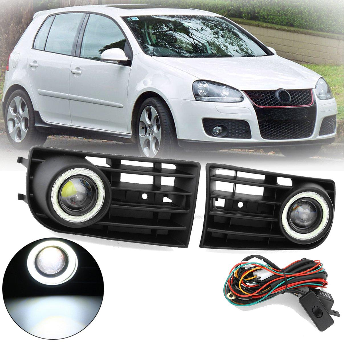 Pair Car Fog Lights Grille LED Halo Angel Eye Light Wiht Wring Kits For VW Golf 5 MK5 2003-2009
