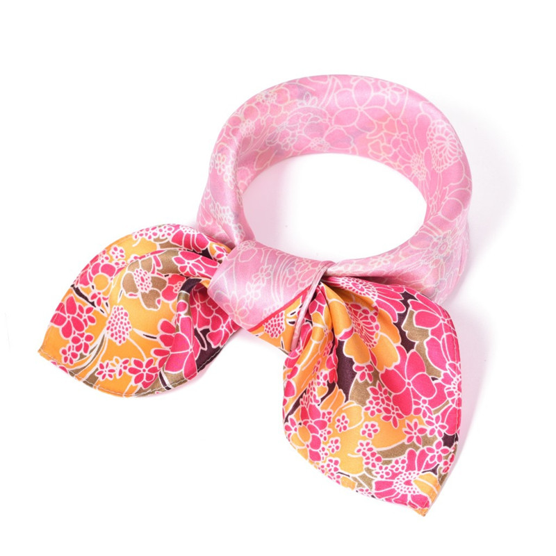 SUMEIKE Luxury Brand 100% Real Silk   Scarf   53*53cm Fashion Women   Scarf   Floral Small Square   Scarves   Neck   Wraps   Female