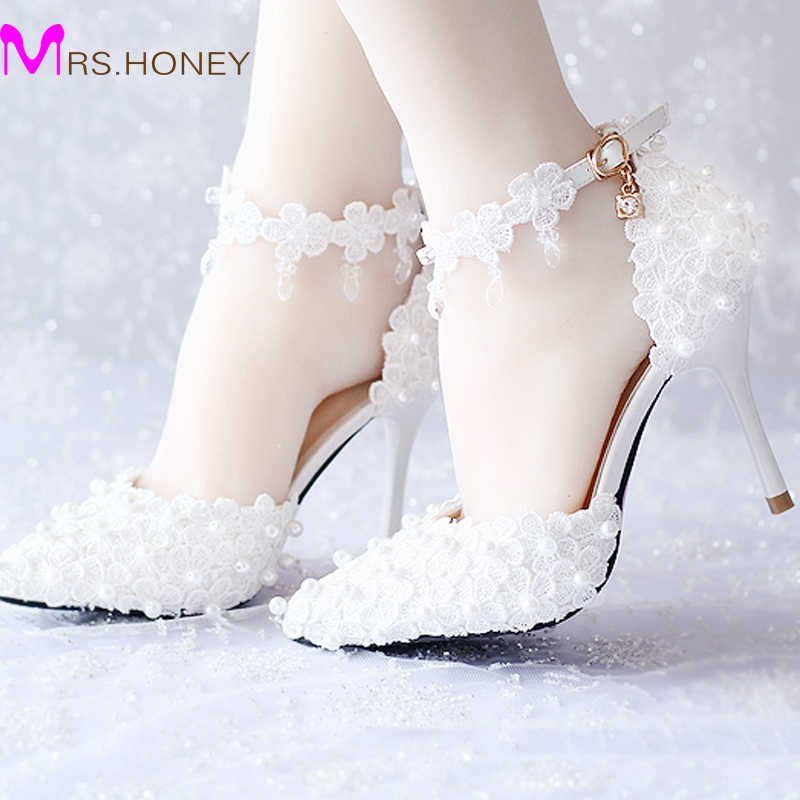 white lace flower bridal dress shoes pointed toe high