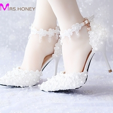 White Lace Flower Bridal Dress Shoes Pointed Toe High Heels Ankle Straps Prom Party Shoes 3 Colors White/Red/Pink Wedding Shoes