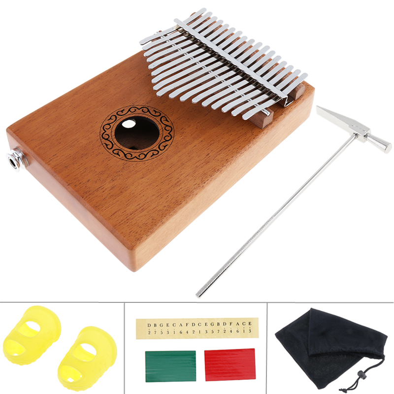 17 Key Electroacoustic Kalimba Single Board Mahogany Thumb Piano Mbira Mini Keyboard Instrument with Complete Accessories kalimba piezo pickup mbira accessories thumb piano pick up musical instruments